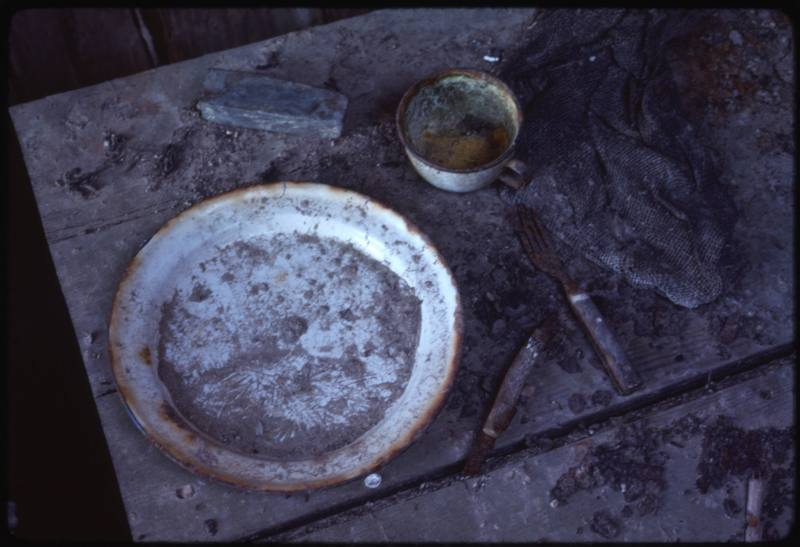 North end of Cape Parry, inside whaler's hut table setting (Sept '76) (2)0.jpg