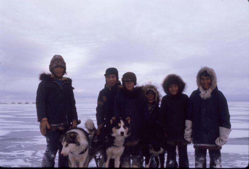 Paulatuk kids on nearby lake ice (Nov '73)0.jpg