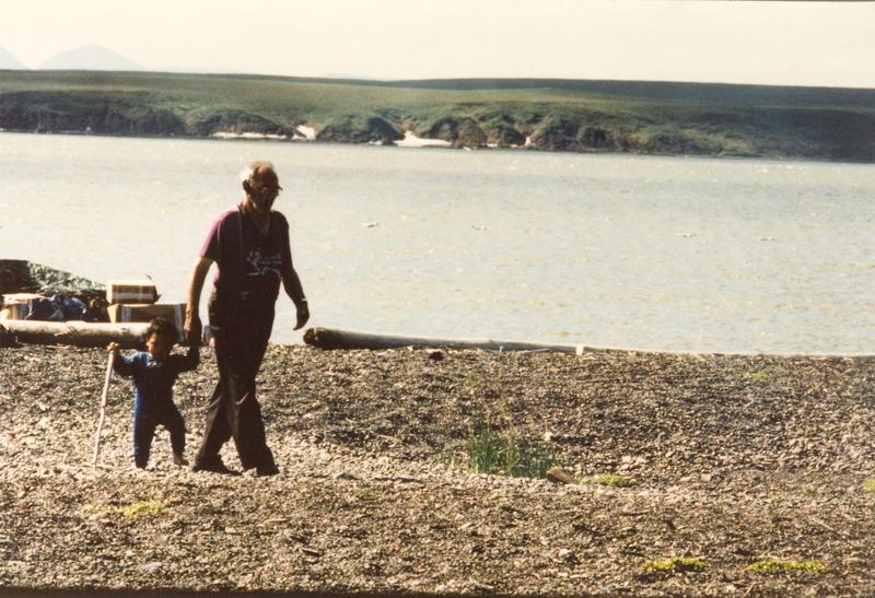 https://arrl-web002.artsrn.ualberta.ca/icrc/201801-upload/Qikiqtaruk - Herschel Island- Cultural Study/Herschel Is Cultural Study- Alec Gordon and grandson at Shingle Pt- July 1990- Yukon Heritage Branch.jpg