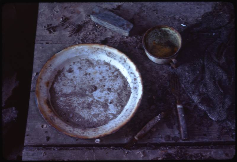 North end of Cape Parry, inside whaler's hut table setting (Sept '76)0.jpg