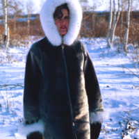 Maureen Hunt in her Arctic Coat