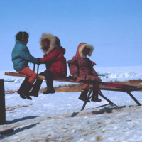 Five Children Playing on a Seesaw